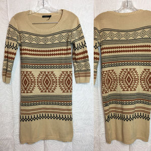 THML aztec tribal print sweater dress navajo